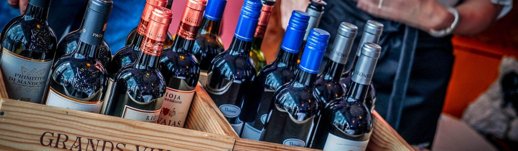 wine bottles at pop-up